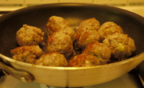 Meat Balls being browned