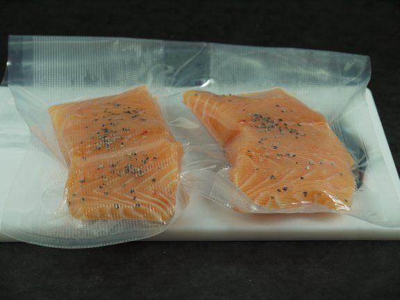 Brined Salmon in Sous Vide bag