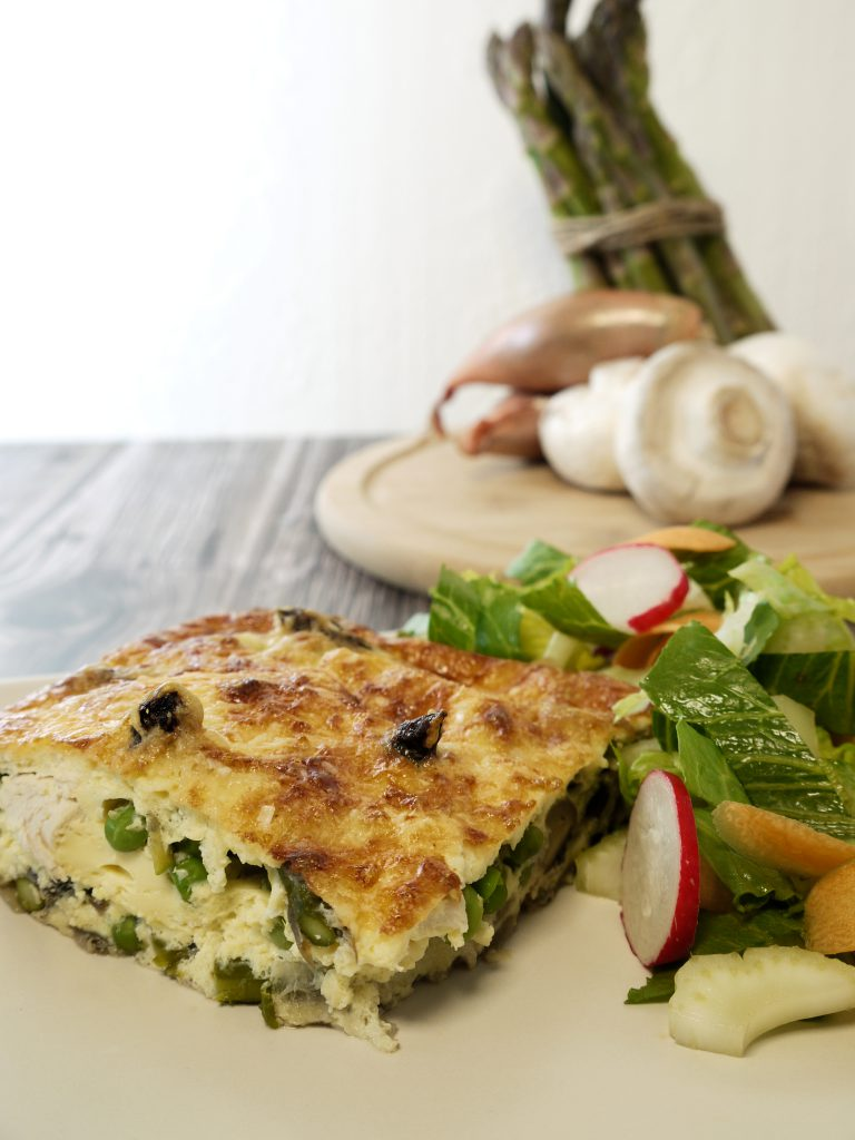 What to do with leftover cooked chicken make Chicken Umami Bomb Quiche from Leftovers by Design