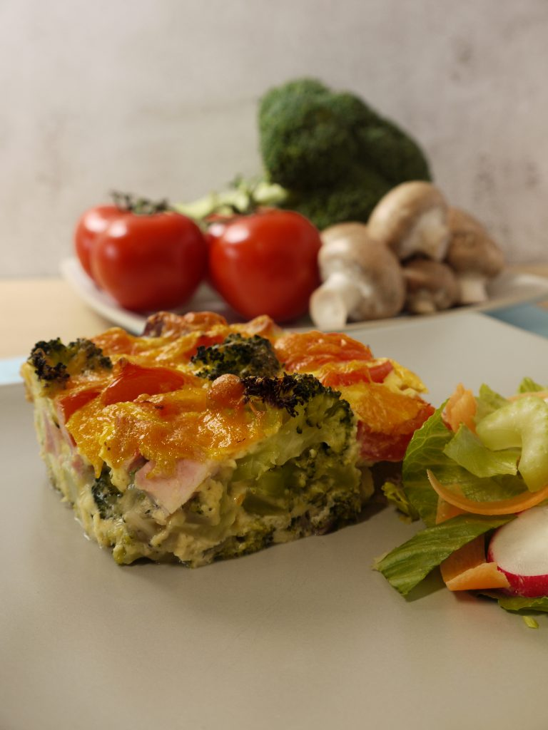 What to do with leftover pressure cooked gammon or ham recipes make Ham and Broccoli Quiche from Leftovers by Design