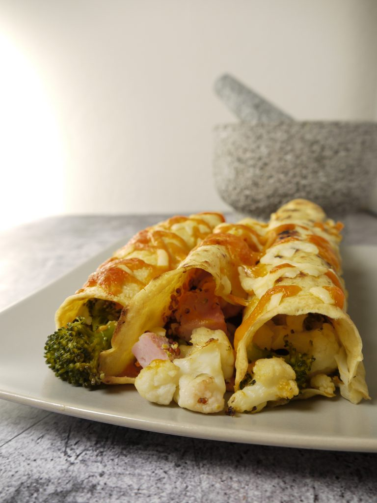 What to do with leftover pressure cooked gammon or ham recipes make Ham, Cauliflower and Broccoli Crepes from Leftovers by Design