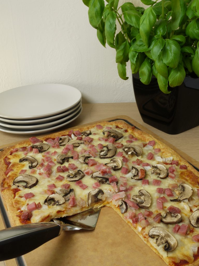 What to do with leftover pressure cooked gammon or ham recipes make Ham and Mushroom Pizza from Leftovers by Design