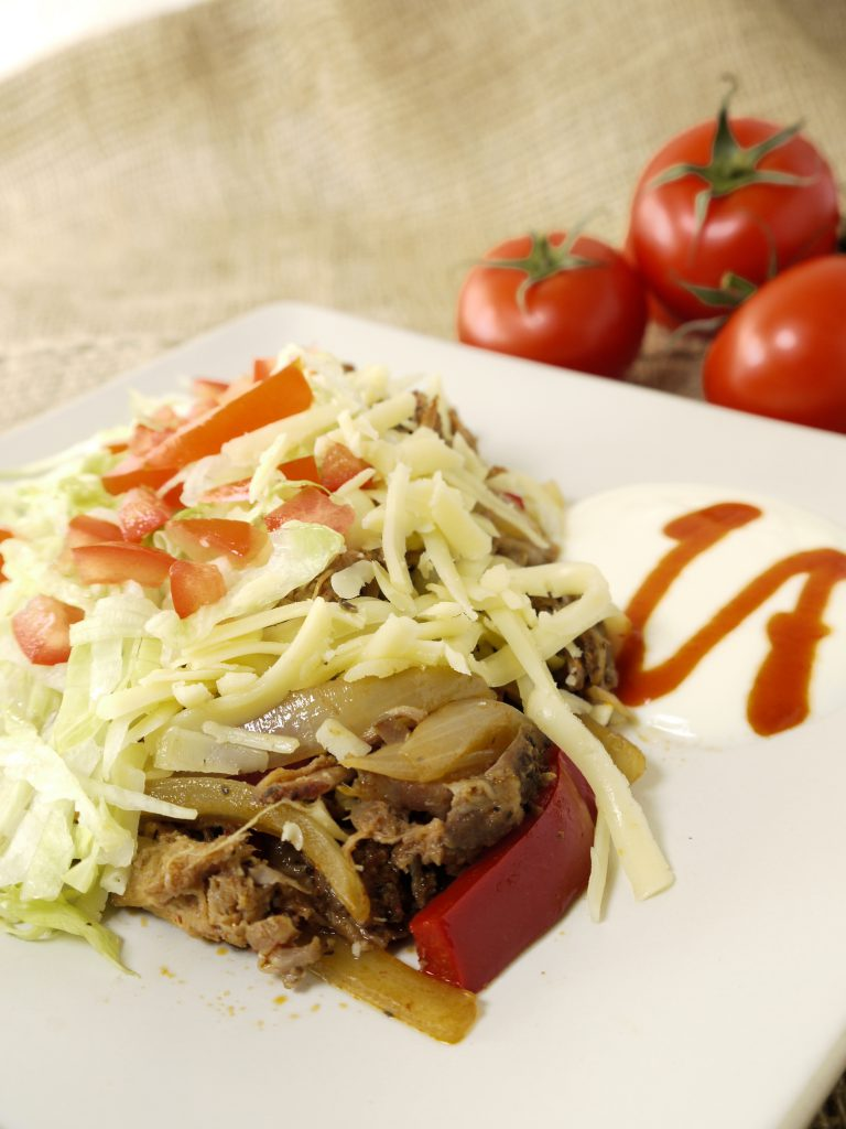 What to do with leftover Instant Pot sous vide pulled pork make Plated Pork Fajita from Leftovers by Design